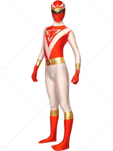 Red And White The Terminator Lycra Spandex Super Hero Costume