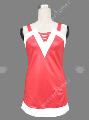 Red and white women spaghetti straps Christmas cosplay costume