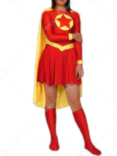 Red And Yellow Lycra Spandex Super Hero Catsuit