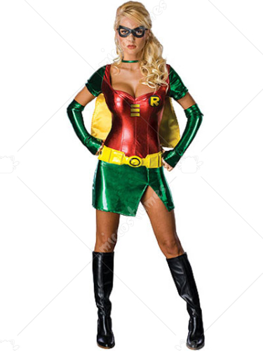 Red Batgirl Robin Lycra Shiny Metallic Super Hero Costume