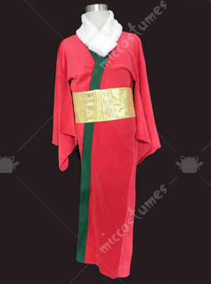 Red cheongsam with gold belt Christmas cosplay costume