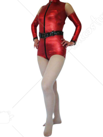 Red Front Zipper Shiny Metallic Catsuit