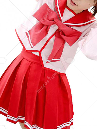 Red Long Sleeves Bow School Uniform