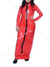 Red Long Sleeves Front Zipper Shiny Metallic Dress