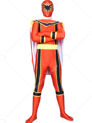 Red Power Rangers Spandex Lycra Super Hero Costume