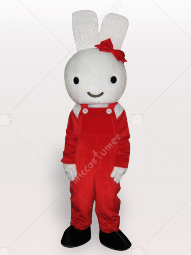 Red Rabbit Short Plush Adult Mascot Costume