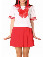 Red Short Sleeves Sailor School Uniform