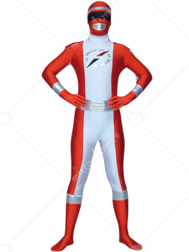 Red White Spandex Super Hero Costume
