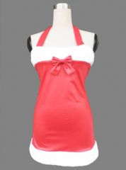 Red women short Christmas cosplay costume with red bow