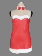 Red women strapless sweetheart short Christmas cosplay costume