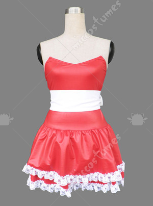 Red women sweetheart skirt Christmas cosplay costume