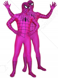 Rose Lycra Spandex Spideman Zentai Costume with Black Strip