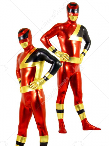 Shiny Metallic Red Black Super Hero Unisex Zentai Catsuit