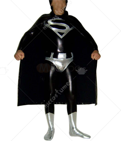 Shiny Metallic Unisex Superman Catsuit with Cape