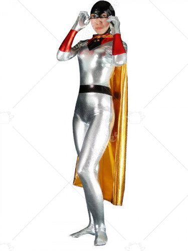 Silver And Black Shiny Metallic Batwoman Super Hero Zentai Suit