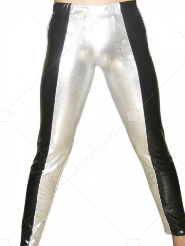 Silver And Black Shiny Metallic Pants