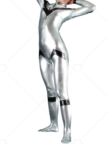 Silver And Black Shiny Metallic Unisex Catsuit