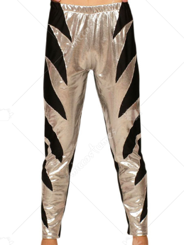 Silver Black Shiny Metallic Pants