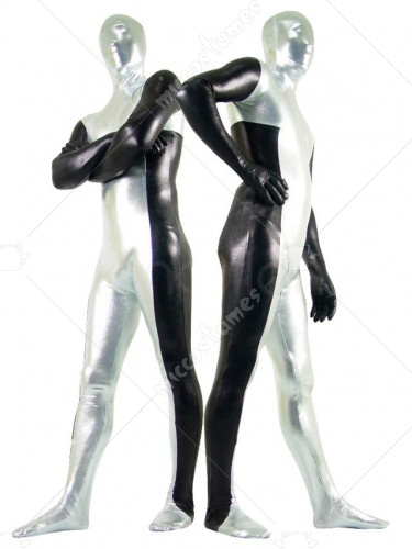 Silver Black Shiny Metallic Unisex Zentai Suit