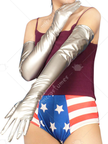 Silver Sexy PVC Gloves