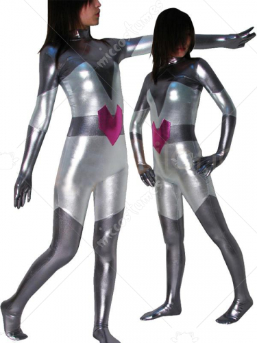 Silver with Gray Shinny Metallic Super Hero Catsuit