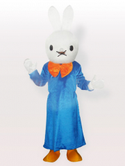 Smart Bunny in Blue Gown Adult Mascot Costume