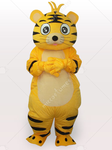 Smart Tiger Short Plush Adult Mascot Costume
