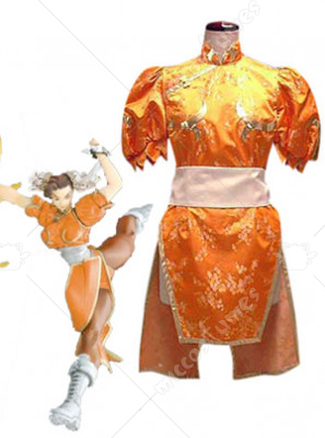 Street Fighter Chun Li Orange Cosplay Costume