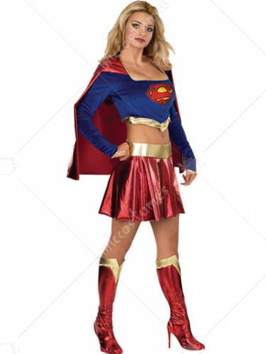 Super Girl Lycra Shiny Metallic Super Hero Costume