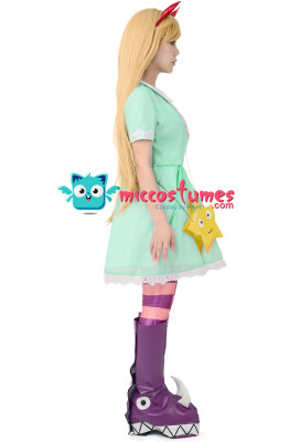 Girl's Princess Star Butterfly Cosplay Costume Green Dress Including Hair Accessory,Star Bag and Shoe Covers