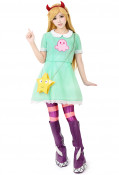 Girls Princess Star Butterfly Cosplay Costume Green Dress Including Hair Accessory,Star Bag and Shoe Covers