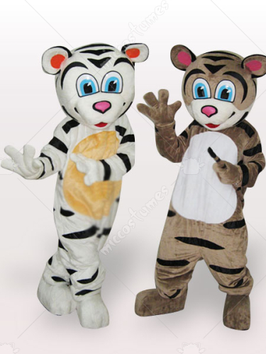 Tiger Brothers Short Plush Adult Mascot Costume