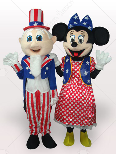 Uncle Sam And Minnie Short Plush Adult Mascot Costume
