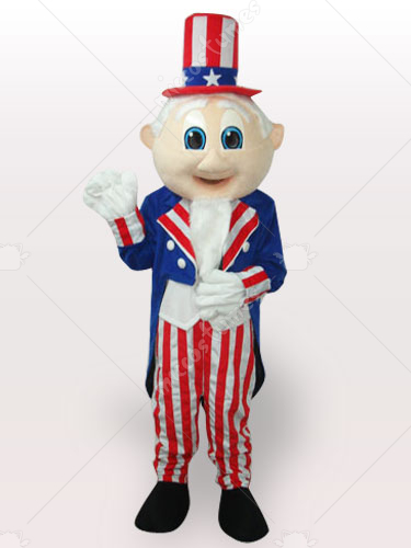Uncle Sam Short Plush Adult Mascot Costume