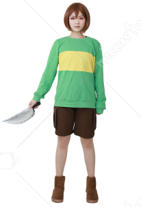 Green Yellow Stripes Cosplay Costume(knife included)