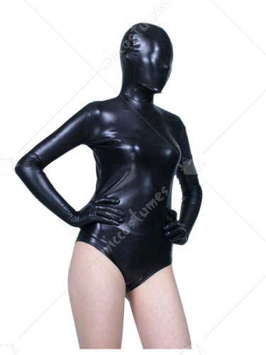 Unicolor Black Shiny Metallic Catsuit