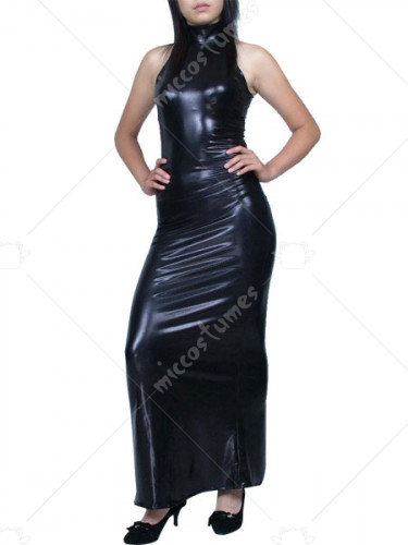 Unicolor Black Shiny Metallic Dress