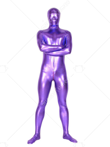 Unicolor Purple Unisex Shiny Metallic Zentai Suit