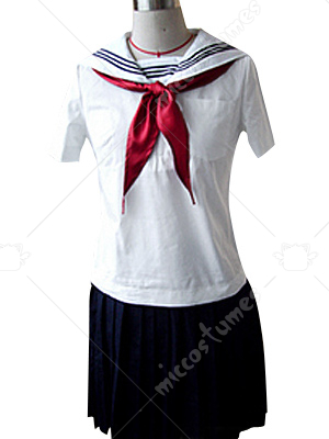White And Black Sailor Short Sleeves School Uniform