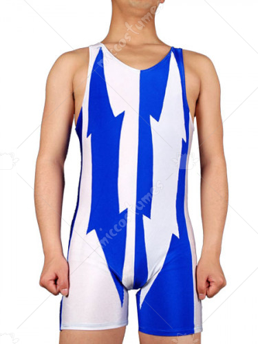 White And Blue Lycra Spandex Catsuit
