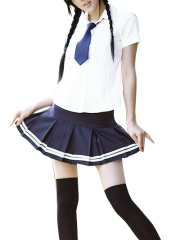 White And Blue Tie School Uniform