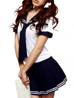 White And Deep Blue School Uniform