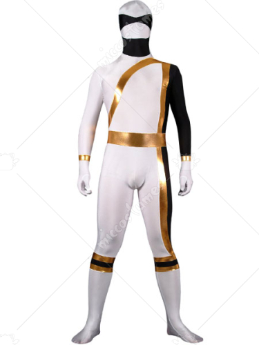 White And Gold Lycra Spandex Shiny Metallic Super Hero Zentai Su