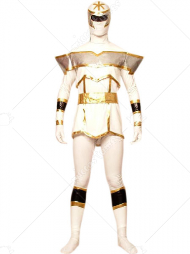 White And Gold Lycra Spandex Super Hero Zentai Suit