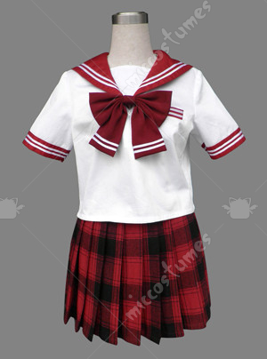 White and Red Japanese School Uniform