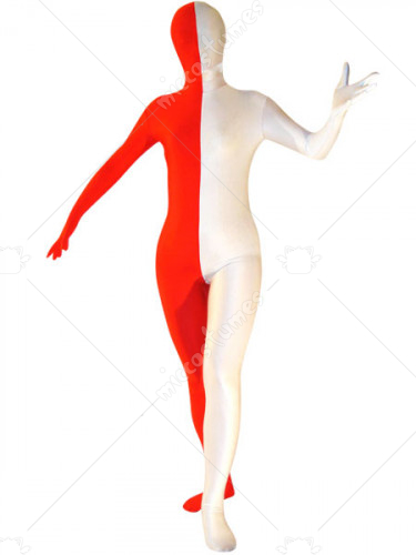 White And Red Unisex Spandex Lycra Zentai Suit