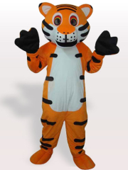 White Belly Tiger with Black Stripes Adult Mascot Costume