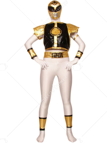 White Black And Gold Lycra Spandex Super Hero Zentai Suit