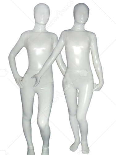 White Cream Shiny Metallic Unisex Zentai Suit