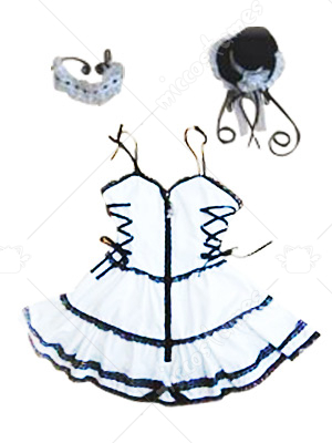 White Front Zipper Closure Lolita Cosplay Dress